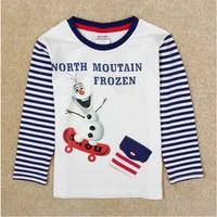 Free Shippin 2014 New Arrival Boys Olaf T-shirt White Kids 100% Cotton t-shirts Baby frozen Printed tshirt NOVA Cartoon Clothing
