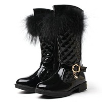 2014 girls winter boots child boots snow boots angora high boots genuine leather foot length 17 ~ 23cm