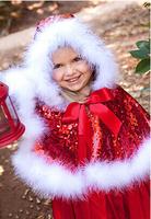 Retail girl Christmas sets New Girls Cartoon Christmas Festive sequined shawl + vest Skirt suit Set free shipping