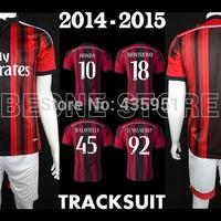 2014-15 Embroidery Uniform AC Milan Home Soccer jerseys Camisetas de futbol / FREE Customize