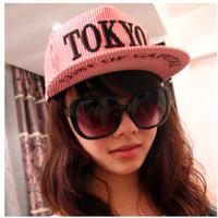 Hat male women's vertical stripe tokyo hiphop cap baseball cap flat hat hip-hop cap