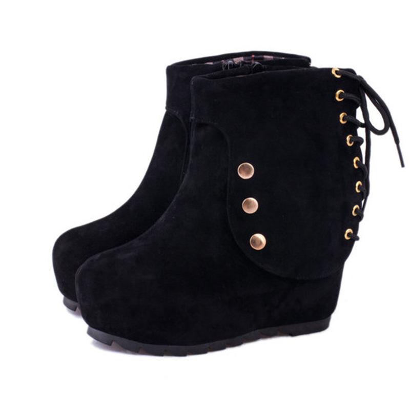 Increase women's boots fashion women's shoes wholesale manufacturers rivet flat binding band new personality(China (Mainland))