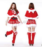 2014 new Christmas cosplay Split Set shawl costume winter dress hat cloak luxury women girl Santa Claus role Halloween clothing