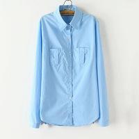 L3105 Women sky blue pockets shirt 2014 Hitz lapel long sleeve autumn casual slim women's cotton shirt