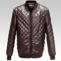 2014 Winter Men Fashion Brand New Leather Jacket Stitching Plaid Motorcycle PU Leather Jacket Casual Jacket Large Size XXXL-6XL