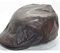 New arrival cool PU newsboy cap with skeleton embroidery allover for Autumn and Winter