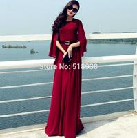 2014 New autumn women vintage fashion long chiffon cape dress plus size floor length maxi elegant original design brand dresses