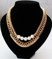 2014 new  European style jewelry wholesale alloy Multilayer Pearl necklace 12 pcs /lot