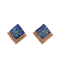 Blue Created Rhinestone Gold Color Alloy Square Shining Stud Earrings New Fashion 2014 Jewelry For Elegant Women