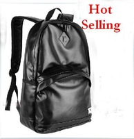New Fashion mens computer bag Retro backpack PU leather waterproof schoolbags black  travel bags free shipping