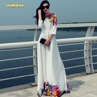 2014 New autumn fashion long dress floral print white maxi dress O-neck elegant three quarter sleeve full length dress S-XXL