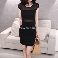 2014 summer new dress women Slim o-neck milk silk Mesh stitching fashion sexy Black dress S-XXL Free shipping