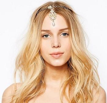 Новое поступление богемия стиль кристалл перл кисти волос манжеты булавочную головку ...