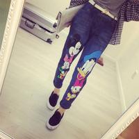 2014 New autumn winter Cute cartoon Mouse Donald Duck Loose Boyfriend Jeans Capris Women Girls casual Long Pants free shipping