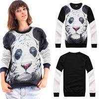 2014 new autumn winter harajuku women men 3D tiger head printed pattern casual sweatshirt brand pullover hot sale!! QY40013