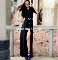 New 2014 autumn winter women vintage fashion sexy black long dress maxi floor length cotton golden buttons plus size dresses xxl