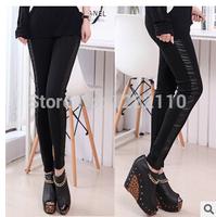 2014 Korean version women  new autumn and winter fashion female fight skin leggings waist sequined leather leggings pencil pants