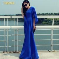 2014 autumn fashion sleeveless chiffon maxi dress women's plus size cape dress female elegant slim ultra long party formal dress