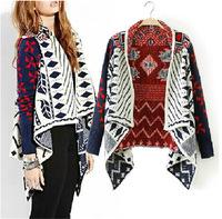 2014 New Fashion knitwear cardigan Women  Loose Bat Long-sleeved Sweater Irregular Geometric Diamond Knit Shawl Cardigan Sweater