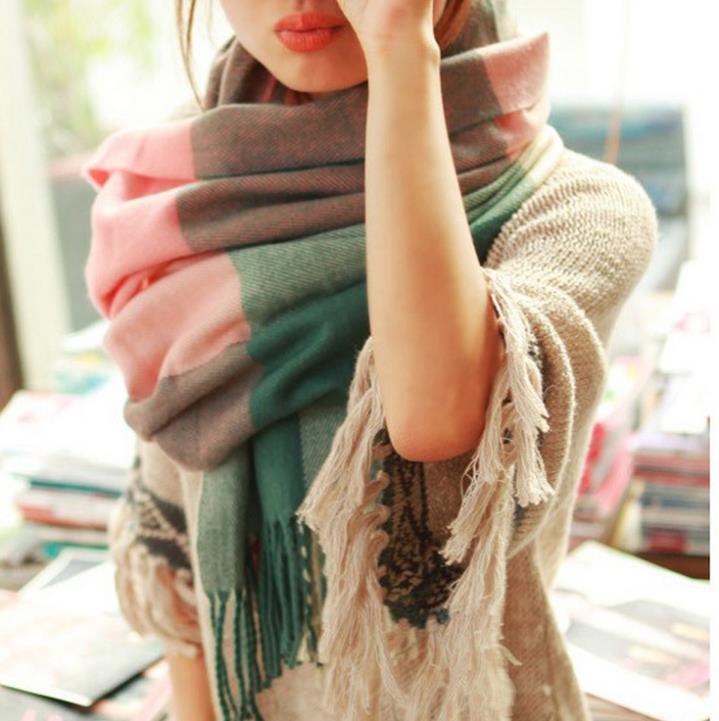 Winter Scarf Fashion Wool Spain Desigual Scarf Women Plaid Thick Scarves Shawl for Women 2015(China (Mainland))
