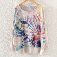 2014 Autumn new Women Korean Batwing Sleeve Sweater Round Neck Sweater Zebra Print Pullovers