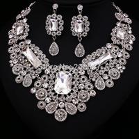 Hot Sale Y7287W Wholesale Women Crystal Rhinestone Bridal Jewelry Set African Wedding Jewelry Set Big Necklace Earrings