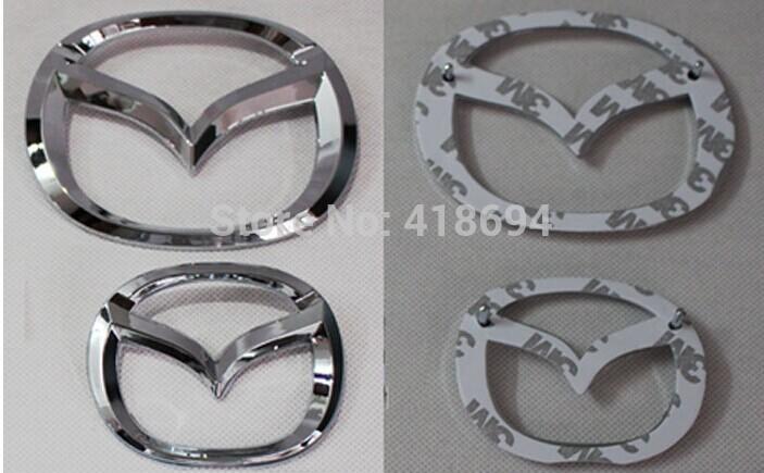 Free SHIPPING Chrome Color MazDa Steering Wheel Emblem 3D MazDa Logo Badge Decal For MazDa 3 6 Head & Tail MazDa mark Sticker(China (Mainland))