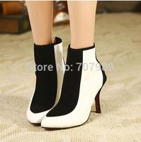 2014 women shoes Autumn boots Stiletto High Heels Black & White Pumps Pointed Toe Fashion sapatos femininos