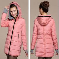 Women's cotton-padded jacket 2014 winter medium-long down cotton plus size jacket female slim ladies jackets and coats Q177