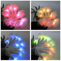 Wholesale 200Pair Newest Cheering Party Flower Fingertip Luminous LED Light Flashing Gloves Mittens Rave Party Bar Concert Props