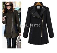 2014 autumn winters with zipper big yards college coat female overcoat women's wool