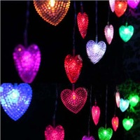 4m 20 LEDs RGB Hearts LED Light String New Year Festival Wedding Party Decoration Christmas Light Steady on