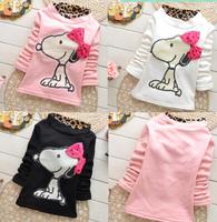 wholesale baby girls autumn/winter leopard fleece hoodies turtleneck warm Tops for kids girls dog tee