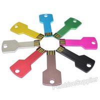 HOT! Wholesale 50pcs lot metal Custom LOGO pendrive Key USB Flash drive mini pen drive memory disk 1G 32G