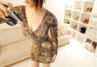 Free gif6629 # 2014 winter new Korean V-neck drop printing nightclub Slim thin long-sleeved dress bottoming