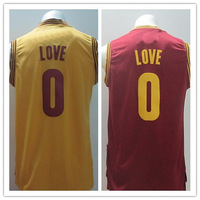 Free shipping Mens #0 Kevin Love Yellow Red embroidery logos Basketball Jerseys size: S-XXXL can mix order
