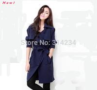 New! Long autumn Coat Women 2014 popular euro street punk design Solid color S,M,L,XL autumn Brand Trench coat for women