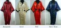 Free Shipping 2014 Hot sale Chinese Unisex Satin Silk Robe Embroidery Kimono Bath Gown Dragon Free Size One Size 4 color S300X