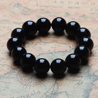 TOP !Natural Black Tourmaline Stone Beads Men Women fashion Jewelry bracelet14MM