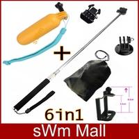 Go pro Sj4000 Accessories Handheld Bobber+Telescoping Monopod+Tripod Mount Adapter+Mobile Phone Clip For GoPro Hero3/1/2/3+