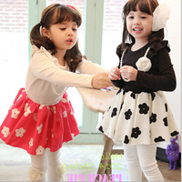 Free shipping - autumn new child dress foreign trade printing plum flower princess dress han edition dress of the girls