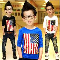 Free shipping 2014 New Autumn Children Fashion O-Neck Cotton Flag Skull Printing Full Sleeve Boys T shirt C26
