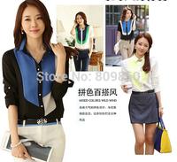 2014 women cotton OL shirts Chiffon Slim hit the color stitching blouses