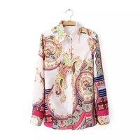 2014 New Autumn Women Fashion Flower Prints Cotton Blouses Full sleeves Turn-down collar Ladies Casual Shirts 1017306804