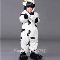 Hot Sale New Anime Animal Milk Cow Costume Kids Pajamas Sleepwear Cosplay Costume free shipping