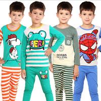 2014 Long Sleeve Kids Pajamas Sets Baby Clothing Set Boys Pijama Girls Pyjamas 100% Cotton  Sleepwear Retail Kids Sleepers Robe