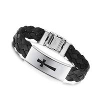Fashion Silk Weaving leather religious stainless steel bracelets women/man cross charm bangles & bracelets jewelry