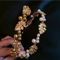 Baroque luxury retro leaves Pearl hairpin hair hoop headband hair accessories Korea broadside
