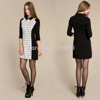 2014 New Brand Women Formal Dress Plaid Style Back Zipper Half Sleeve Lapel Slim Sheath Femininas Vestido DressEF32