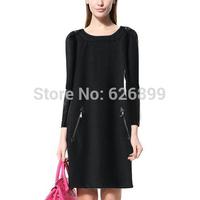2014 European And America Women's Woolen Blend Dress Faux Leather Patchwork Double Oblique Zipper Long Sleeve With Epaulet  EF33